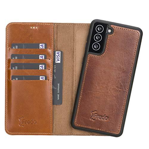 FREDO Lederhülle kompatibel mit Samsung Galaxy S21 Plus Abnehmbare 2 in 1 Handyhülle inkl. Kartenfächer für Samsung S21 Plus Handytasche mit Magnet Hand Made - Cognac Braun