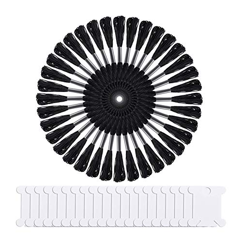 Kuinayouyi 36 madejas de hilo de punto de cruz negro bordado de hilo de amistad, pulseras de hilo de bordar con 20 paquetes de bobinas de hilo dental
