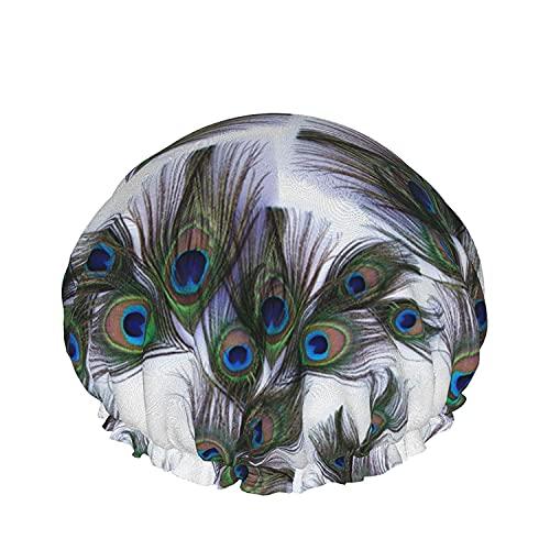 Double Layers Shower Cap,Peony Violet Campanula Orchid Eucalyptus Navy Blue Geometric Ornament,Reusable Waterproof Elastic Bath Caps for All Hair Lengths-style06-1pcs