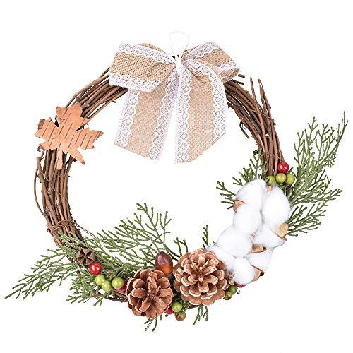 XONOR Corona de Navidad – 27 cm de mimbre artificial de Navidad con lazo de cinta para decoración de pared de puerta delantera, boda, ventana (A)