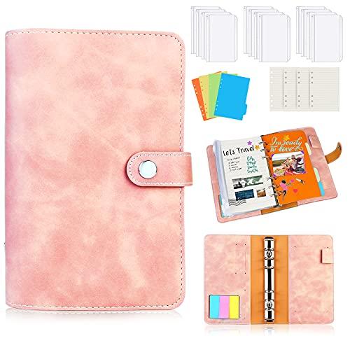Sporgo Binder Notizbuch A6,PU Leder Loseblatt Notizbuch 6 Löcher Binder Notebook mit 12 Stück PVC Binderumschlägen 3 Farben Haftstreifen,16 Labels,4 Farbige Papierkarte & Nachfüllpapier (pink)