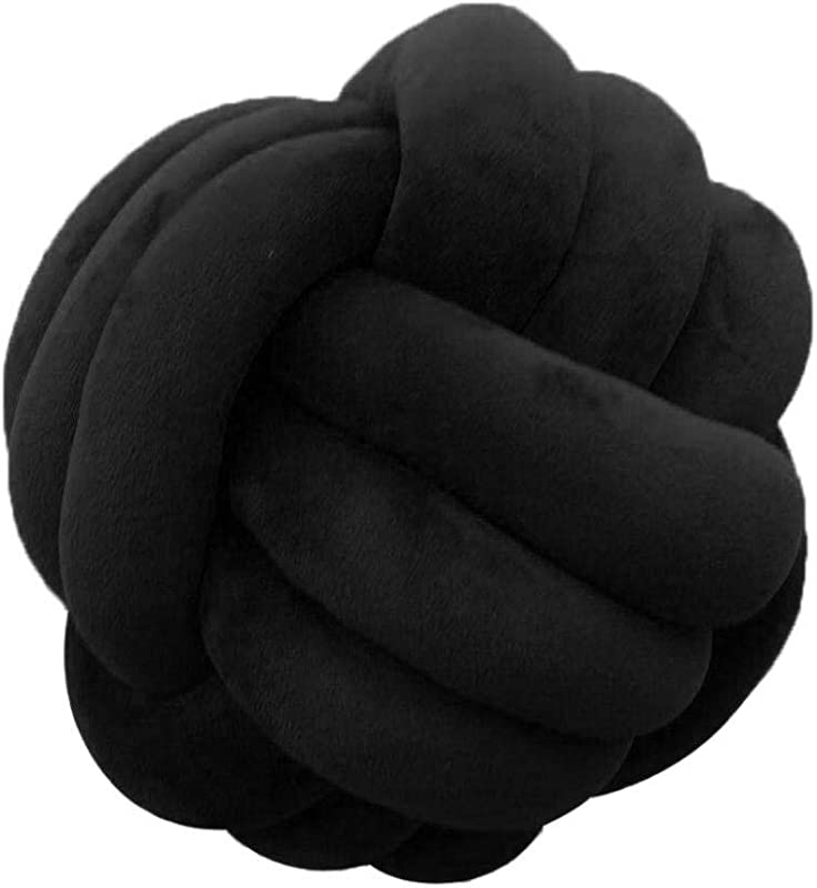 MARGUERAS 1PCS Knot Ball Pillow Plush Toy Home Decor 10 6in Black