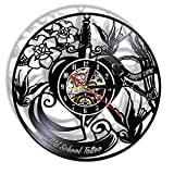 FUTIIF Tattoo Studio Vinyl Record Wall Clock Custom Order Your Design Your Logo Your Image Personalized Tattoo Shop Decoration Clock with Led