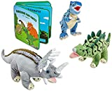 "Plush Dinosaur Stuffed Animal Set of 3 Dinosaurs with Foam Book - 12"" Soft Dinosaur Toys for Boys and Girls - Gift Set Includes T-Rex, Triceratops and Stegosaurus with Colorful Dinosaur Fact Book"