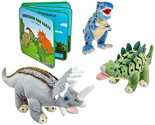 """Plush Dinosaur Stuffed Animal Set of 3 Dinosaurs with Foam Book - 12"""" Soft Dinosaur Toys for Boys and Girls - Gift Set Includes T-Rex, Triceratops and Stegosaurus with Colorful Dinosaur Fact Book"""