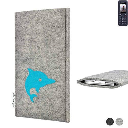flat.design Handy Hülle für bea-fon AL250 FARO mit Delphin handgefertigte Filz Tasche fair