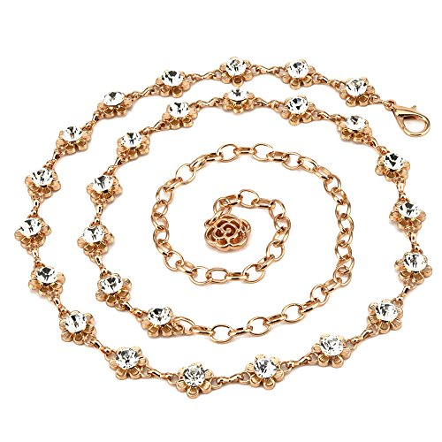 Sparking Crystal Rhinestones Flower Body Chain Skirt Beach Belly Body Waist Chain Jewelry Necklace Women (Gold)