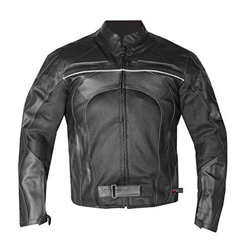 New Men's Razer Motorcycle Biker CE Armor Mesh & Leather Black Riding Jacket L