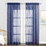 RYB HOME Sheer Curtains for Bedroom - Linen Textured Semi Sheer Curtains for Living Room Boys Nursery Patio Sliding Glass Door Sunlight Filtering, Wide 52 inch x Long 90 inch per Panel, 1 Pair