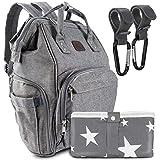 all Kids United® Wickeltasche Baby Wickelrucksack Komplett Set mit Multifunktions-Babytaschen und Kinderwagengurte und mobiler Wickelauflage