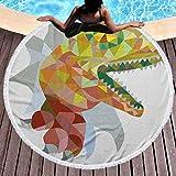 prunushome Round Beach Mat Reptile Microfiber Beach Towel Colorful Mosaic Wild Trex Illustration Opens Mouth Jurassic Pixel Dinosaur Mascot for Beach Picnic Carpet Yoga Mat Multicolor (Diameter 59')