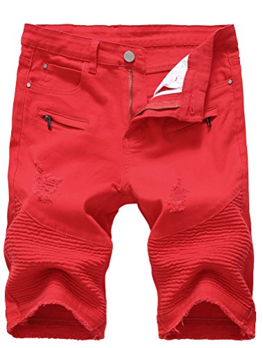 Lavnis Men's Casual Denim Shorts Classic Fit Ripped Distressed Summer Jeans Shorts Red 38