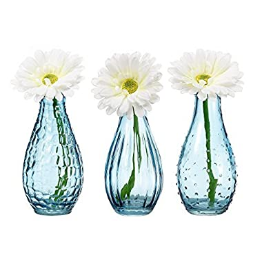 V-More Light Blue Glass Bottle Flower Bud Vase Bubble Rib Hobnail 5.6-inch Tall for Home Decor Party and Celebration (Set of 3)
