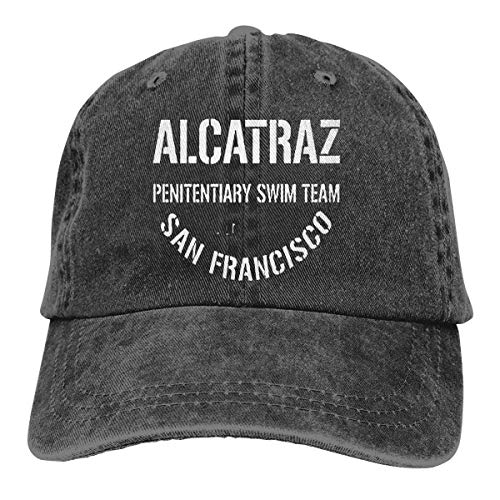 XCNGG Alcatraz Penitentiary Swim Team Sombreros de Vaquero Unisex Sombrero de Mezclilla Deportivo Gorra de béisbol de Moda Negro