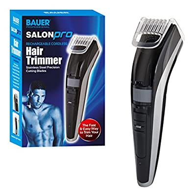Bauer Salon Pro Mens Hair Trimmer Clippers Set with Accessories