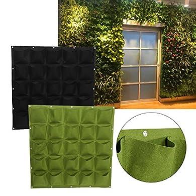 Foto di 25 Tasche di Impianto alla Parete Sospensorio Giardinaggio Planter All'aperto Coperta Verticale Greening Grow Borse (Colore : Verde)