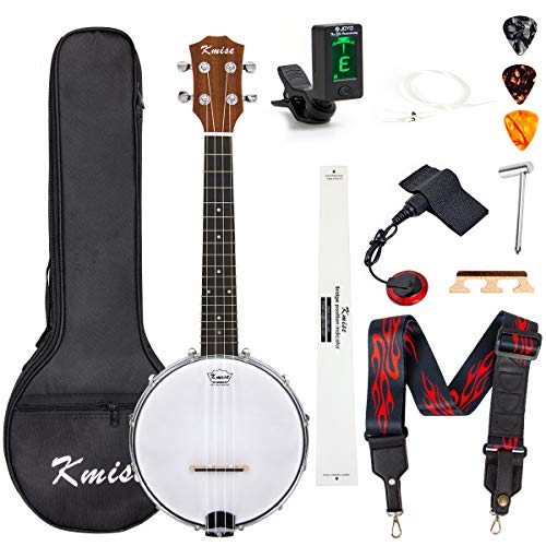 Kmise Banjolele Konzert-Banjo-Ukulele 4 Saiten Banjo 58,4 cm Banjos mit Gigbag Tuner Tonabnehmer Multifunktions Gurt Saiten Plektren Brücke Lineal Schlüssel (MI2423)