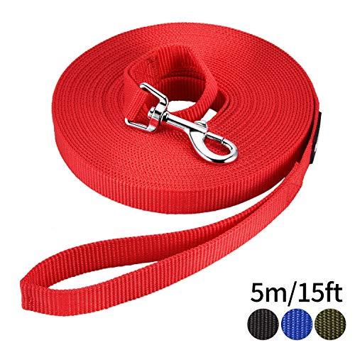 HAPPY HACHI Schleppleine Geflochten Hundeleine führen Lange Seil Nylon Gurtband Recall Ausbildungsleine Leine für Pet (Länge 16.4ft/5m, Rot)