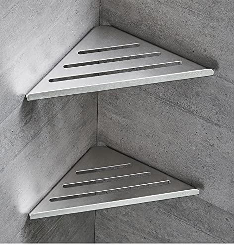 PPuujia Estante de baño 304 de acero inoxidable 304, marco de esquina de 2 capas, cesta triangular, juego de accesorios Bahtroom plateado cepillado (color AF3)