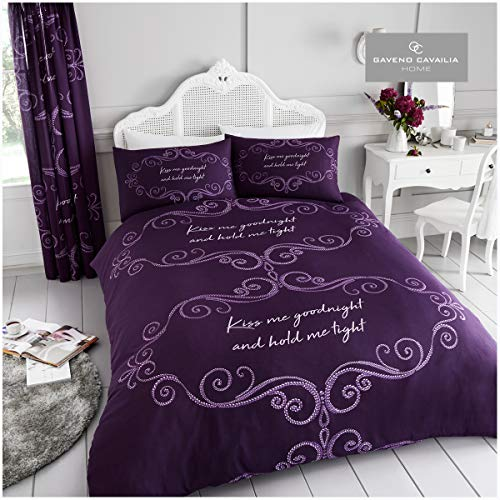 Gaveno Cavailia Kiss me Goodnight Duvet Set, Cotton Blend Reversible Printed Bedding, Easy Care Bedset, 1 Quilt Cover and 1 Pillow Case, Single, Purple