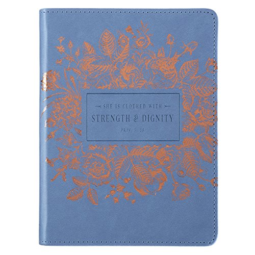 Strength and Dignity Proverbs 31 Woman Bible Verse Blue Faux Leather Journal Handy-sized Flexcover Inspirational Notebook w/Ribbon, Lined Pages, Gilt Edges, 5.5 x 7 Inches