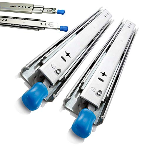 Gnova Full förlängning kullager lådlöpare glider 250–1500 mm, kallvalsat stålmaterial, tvåvägslås, maximal belastning upp till 120 kg, paket med 2