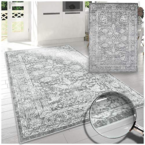 A2Z Rug|Santorini 6076 Grey Silver Vintage Style Floral Pattern With Border|Lounge Living Room Transitional Area Rug|Soft Short Medium Pile|200x290cm-6'7' x9'6 ft|Large Traditional Carpets Rugs