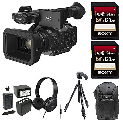 Panasonic HC-X1 4K Ultra High Definition Professional Camcorder, (2) 128GB SDXC, Manfrotto MKCOMPACTACN-BK Kit