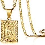 KissYan Initial Letter Pendant Necklace for Mens Womens, 18K Gold Plated Square Capital Monogram Necklace Alhpabets from A-Z Figaro Chain Necklace(Hollow Letter K)