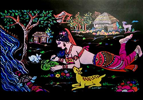 Jai Ambey Store Valvet Cloth Painting kit (36 x 50 ) cm (Design_4)