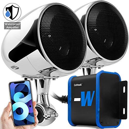 GoHawk TN4-W Waterproof Amplifier 4' Full Range Bluetooth Motorcycle Stereo Speakers 1 to 1.25 in. Handlebar Mount Audio Amp System Harley Touring Cruiser ATV 4-Wheeler, USB, AUX, FM Radio