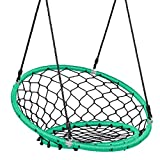 Costzon Web Chair Swing, Kids Tree Swing Set Net Hanging Swing Chair with Adjustable Hanging Ropes and Durable Steel Frame, Kids Play Equipment Great for Park Backyard (Green)