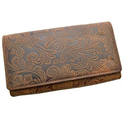 Portemonnaie Damen Wild Leder Geldbeutel mit 24 Kartenfächern in 7 Farben (Muster)