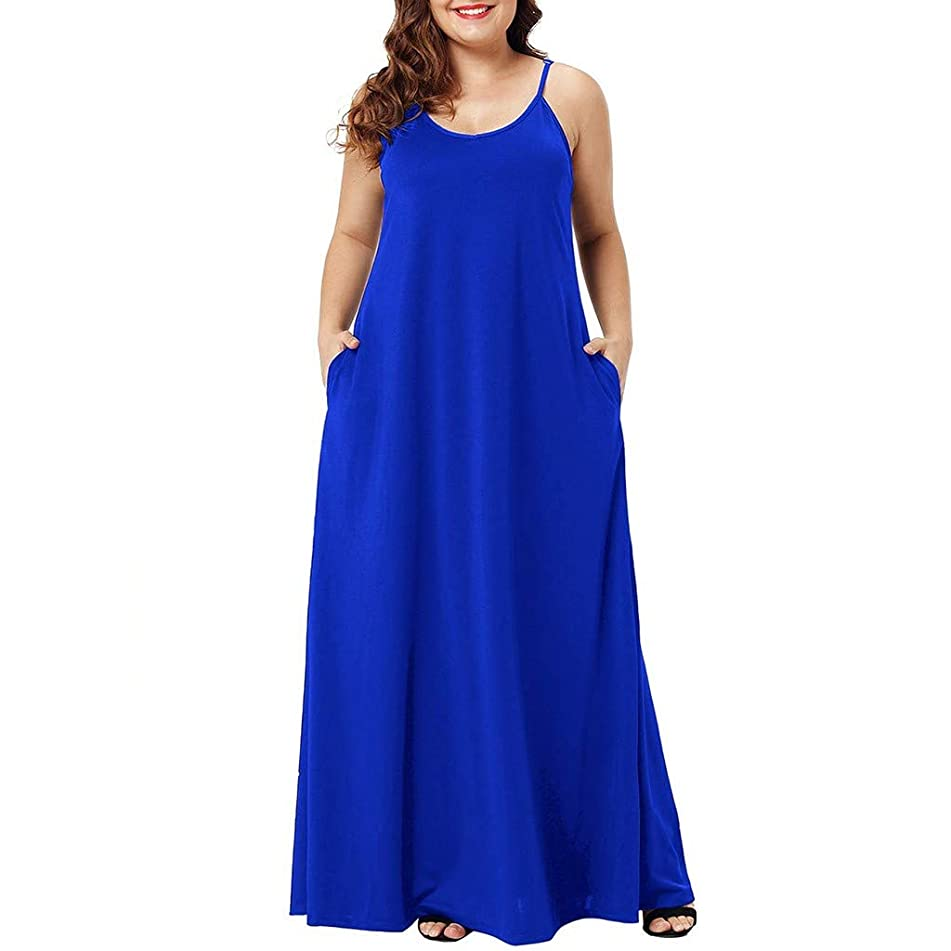 Aunimeifly Women Large Size Dresses Plain Casual Sleeveless Sling Long Dress with Pockets Party Simple Gown