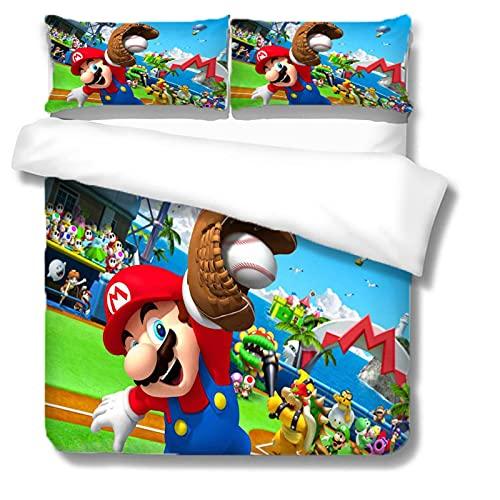 Nat999Lily Juego De Cama Temático De Super Mario Bros, Juego De Funda Nórdica Impresa Digital En 3D De Dibujos Animados, Ropa De Cama De Microfibra, Textiles para El Hogar 220 * 240 Cm