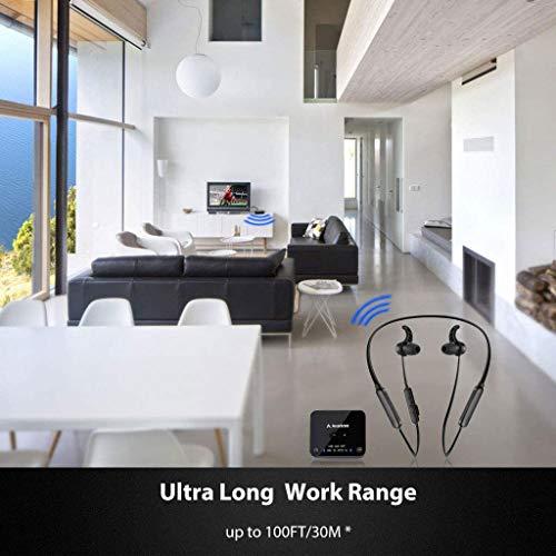 Avantree HT4186 Cuffie Wireless Auricolari a Collana Senza Fili per TV, PC con Trasmettitore Bluetooth, per Audio Ottico Digitale, RCA, AUX da 3.5mm, Plug & Play, Nessun Ritardo Audio