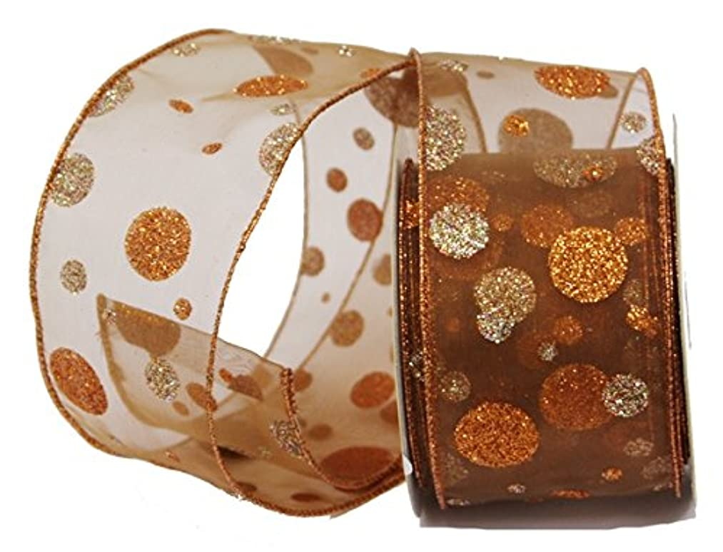 Renaissance 2000 2.5-Inch x 10yd Copper Sheer with Copper Glitter Dots Ribbon