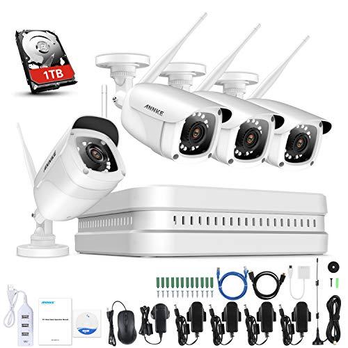 ANNKE 8CH 1080P WLAN Überwachungskamera Set mit 4X 2MP WiFi Wasserfeste Kamera Wireless 1TB HDD NVR Überwachungssystem,30M IR Nachtsicht für Haus, Innen, Außen Sicherheit,Plug & Play System