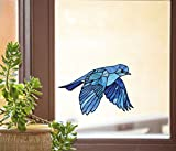 Bird - Bluebird in Flight - Stained Glass Style See-Through Vinyl Window Decal - Yadda-Yadda Design Co. (Variations Available) (Med 5.75'w x 4'h)