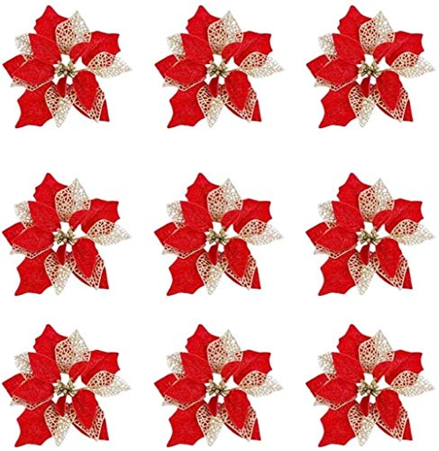 XIAOGINGV Fiori 10pcs Natale Poinsettia Fiori Poinsettia Rosso Bush Artificiale Decorativo della Corona dei Fiori a for Natale Wreath Albero di Natale Ornamenti Rossi (Color : Red)