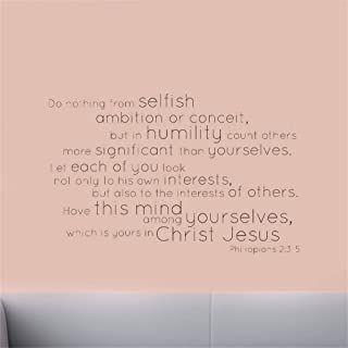 Mcdeog Wall Sticker Lettering Quotes and Saying Do Nothing from Selfish Ambition Or Conceit
