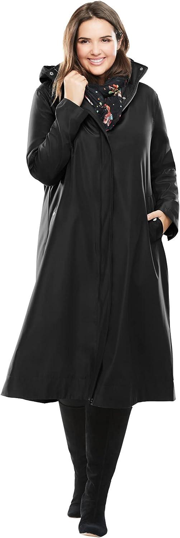 Woman Within Women's Plus Size Water Repellent Long Raincoat Coat