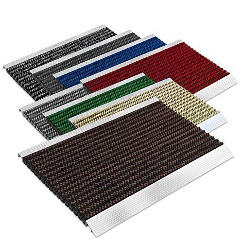 Floordirekt PRO Repräsentative Fußmatte Profi Brush - Testurteil Sehr Gut - Schmutzfangmatte mit Alu Rahmen für außen und innen - Verschiedene Bürsten Farben und Größen (50x80cm Braun)
