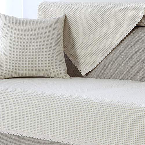 Cojín de sofá de algodón y Lino Antideslizante, Protector de Muebles Funda de sofá para sofás de 1 2 3 4 Cojines, Protector de sofá de Toalla de sofá para Perro-E 70x210cm (28x83in