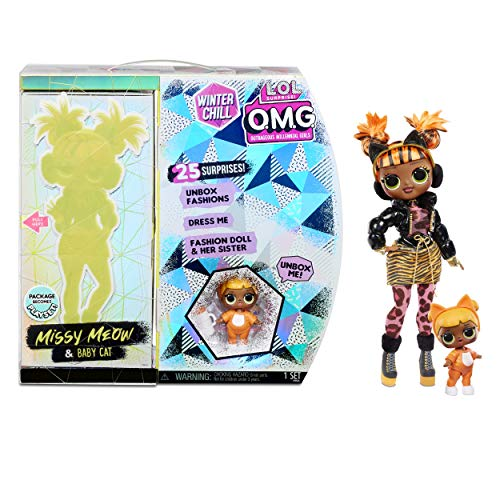 LOL Surprise OMG Winter Chill Muñeca de Moda Missy Meow y Muñeca Baby Cat con 25 Sorpresas