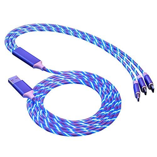 Cable tipo c--cargador tipo c Cable de datos Cool Streamer, cable de datos luminoso inteligente tres en uno, sin miedo a la oscuridad, adecuado para Apple Android tipo c, carga rápida de automóviles