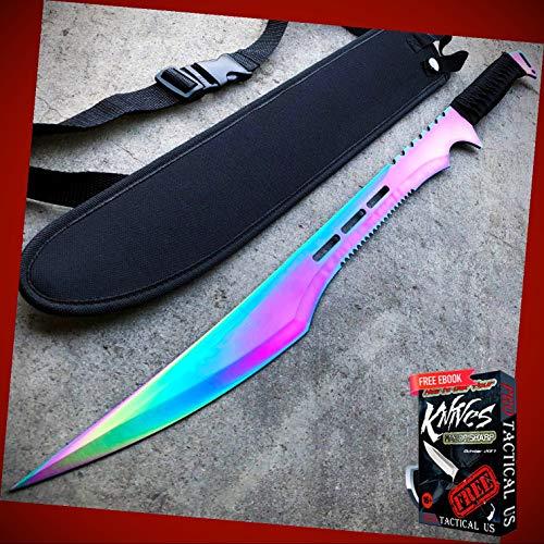 New 27' inch Rainbow Full Tang Blade Machete Tactical Katana Sword w/Sheath New BA-1304kn + Free eBook by PrTac-US