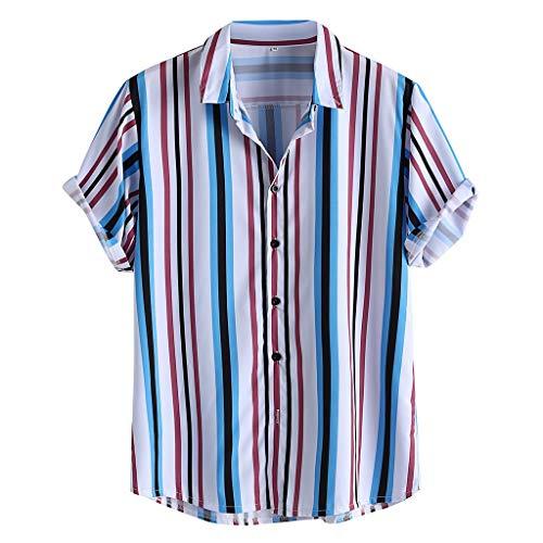 catmoew Herren T Shirt Sommer Mode Blusehemd Kurzarm Streifen Drucken Freizeithemd Oversize Loose Fit Comfortable Herrenhemd T-Shirts für Herren
