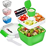 Mueller Salad Lunch Container To Go, Large 51-oz Salad Bowl, 3 Part Divided Tray, with Dressing Container and Reusable Spork Smart Locking Leakproof Salad Holder, (Green)