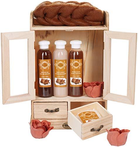 BRUBAKER Cosmetics Bade- und Pflegeset Schokolade im Holzschrank